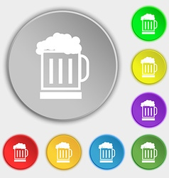 Beer glass icon sign symbol on eight flat buttons vector