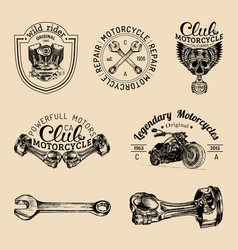 Biker club signs motorcycle repair logos vector