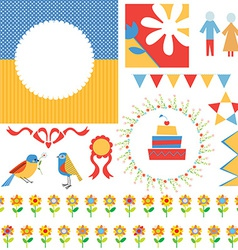 Birthday or party greeting set - frames icons vector image vector image