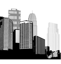 Black and white panorama cities art vector