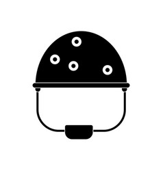 Black icon on white background helmet with bullet vector