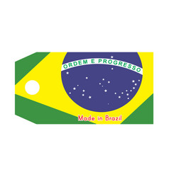 Brazil flag on price tag with vector