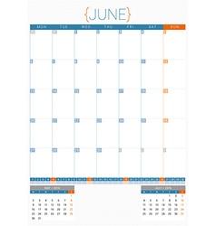 Calendar planner 2016 design template june week vector