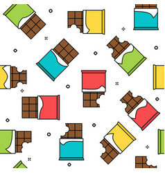 chocolate bars colorful seamless pattern white vector image vector image