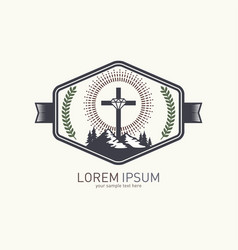 Christian logo with biblical symbols vector