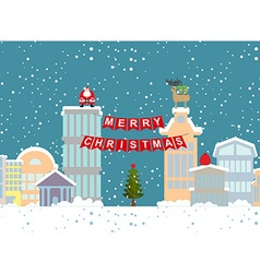 Christmas of winter city and garland background fo vector