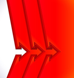 Colorful arrows with red cut paper layers vector