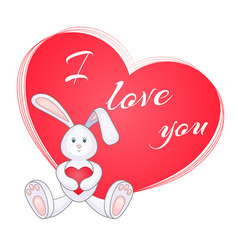 Cute little bunny with red heart vector