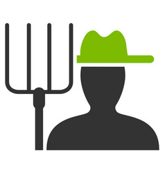 Farmer with pitchfork flat icon vector