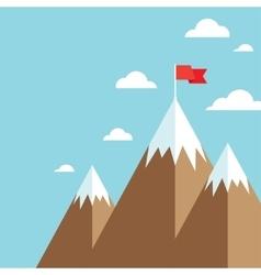 flag on mountain success goal achievement vector image