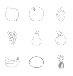 Fruits set icons in outline style Big collection vector image vector image