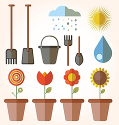 Garden set icons vector
