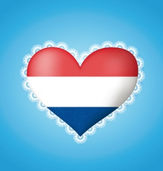 Heart shape flag of Holland vector image vector image