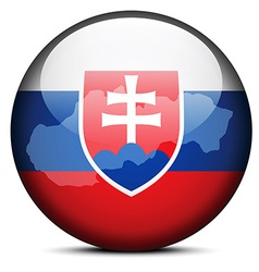 Map on flag button of slovak republic vector