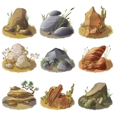 Mineral stones on ground collection vector