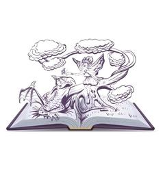 Open book with an fantasy elf woman vector
