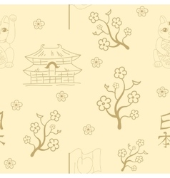 Seamless Japanese symbols background vector image