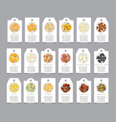 Seasoning seeds on paper cards as sign vector