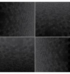 Set black honeycomb background vector