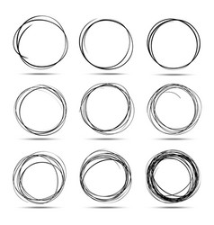 Set of 9 hand drawn scribble circles vector