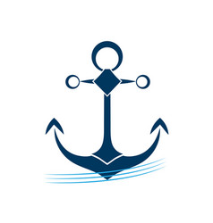 ship anchor on blue waves icon vector image vector image