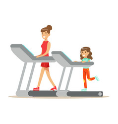 Smiling woman and girl running on a treadmill mom vector