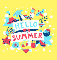 Summer banner beach season background with summer vector