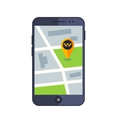 Taxi service app map on mobile phone with gps vector
