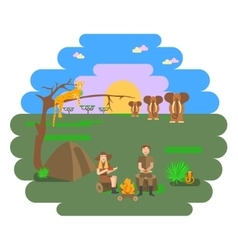 Travel family on african safari vector