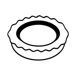 Tray with steel kitchenware cutlery outline vector