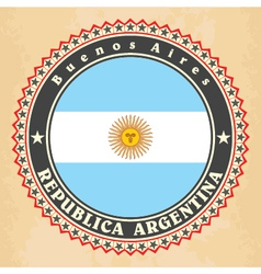 Vintage label cards of argentina flag vector