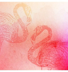 vintage of pink watercolor flamingos on the vector image