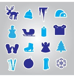 winter and xmas icon stickers eps10 vector image vector image