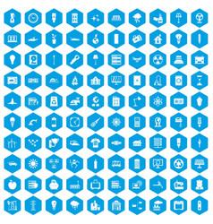 100 electricity icons set blue vector