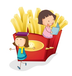 French fries kids Background vector image