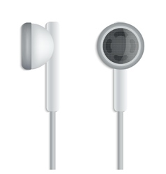 White plug stereo headphones on white background vector