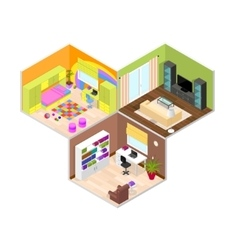 Interior rooms of the house isometric view vector