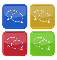 Four square color icons speech bubbles vector