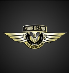 chrome wing logo vector image
