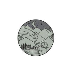 Astronaut touching brontosaurus circle mono line vector