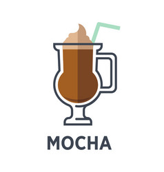 Mocha chocolate-flavored variant of latte isolated vector