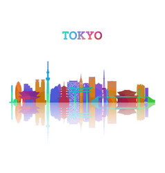 tokyo skyline silhouette in geometric style vector image