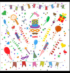 Birthday party symbols collection vector
