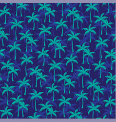 Layered turquoise palm trees on navy blue vector