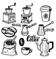 Set of coffee icons on white background coffee vector