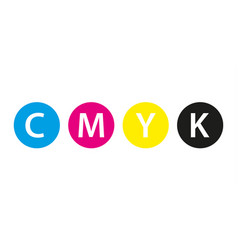 Cmyk print concept four circles in cmyk colors vector