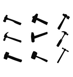 Hammer silhouettes set vector