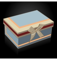 Beautiful gift box with a bow on a black vector image