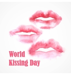 Watercolor lips world kissing day vector