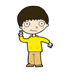 Comic cartoon boy giving peace sign vector